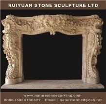 Fireplace Mantel Handcarved Crema Fireplace Sculptured Mantel
