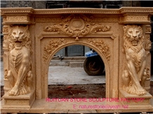Lion Brown Marble Fireplace Marble Mantel Fireplace Mantel