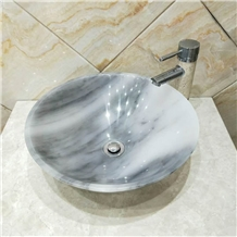 Gucci Grey Marble Bathroom Sink Round Basin