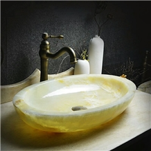 Light Green Onyx Above Counter Wash Oval Basin