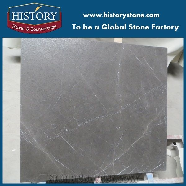 Custom Cut Bulgarian Gray Marble Table Top In Leathered Finish