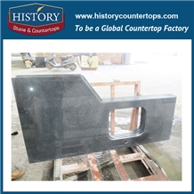L Shape Easy Maintain Padding Dark Grey Granite Kitchen Countertop