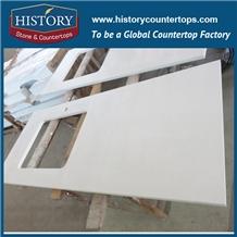 Prefab Snow White Artificial Kitchen Countertop Quartz Stone