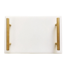 China Oriental White Rectangle Marble Serving Tray
