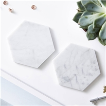 Fashion Octagon White Marble Coaster