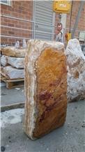 Angel Spark Golden Line Onyx Boulder Headstone
