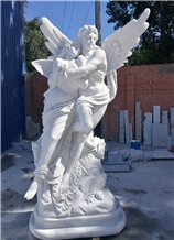 China White Marble Angel Sculptures Garden Statues