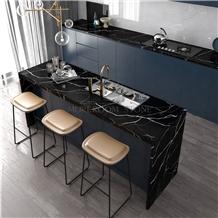 China Black Color Engineered Stone Quartz Stone Kitchen Countertops