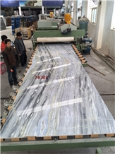 Decorative Wall Bookmatched Blue Marble Slabs