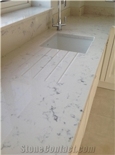 Carrara Quartz Kitchen Tops, Marble Quartz Tops