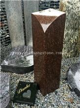 Cats Eye Granite Column Shape Headstone
