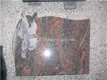 Horse Etching Symphony Purple Granite Headstone