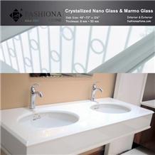 White Nano Glass Bathroom Top