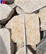 China Yellow Granite Irregular Shape Cobble Pavers