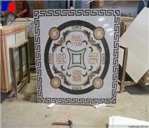 Square Marble Medallions Waterjet Rosettes Tiles