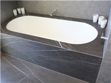 Pietra Gray Marble Slab Bathroom Panel Tile