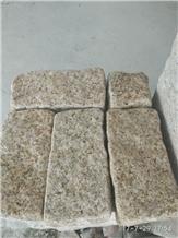 Stock G682 Granite Tumble Cube Stone Pavers,Giallo Garnet Beige Granite Brick Cobble Stone Paver