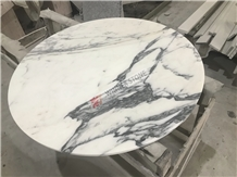 Arabescato White Marble Round Coffee Table Top