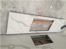 Artificial Calacatta White Quartz Kitchen Top