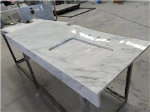 Bianco Bruille Marble Dining Table Top in Kitchen