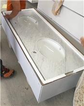 Bianco Carrara a Marble Bathroom Vanity Top in Box