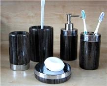 Black Wooden Marble Toilets Bathroom Accessories