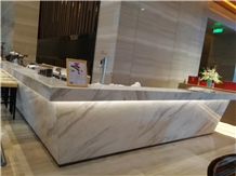 Branco Volakas Marble Reception Counter Table Tops