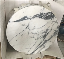 Cafe Round Table Tops, Arabescato White Marble Top
