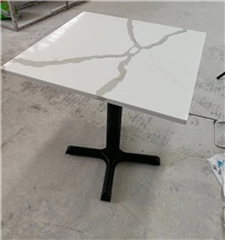 Calacutta White Quartz Square Cafe Table Tops