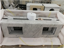 Carrera Marble Countertop with Double Sink Cutout
