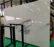 China Galaxy White Marble Slabs Less Black Veins