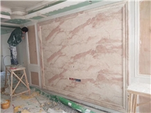 Cream Rose Marble Slab Pink Color Wall Cladding