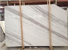 Diagonal Vein Polishing Volakas White Marble Slabs