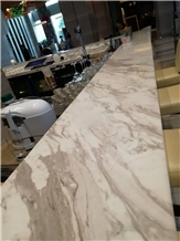 Fabricate Hotel Jazz White Marble Desk Counter Top