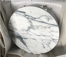 Honed Round White Marble Restaurant Counter Tops