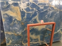 Natural Blue Backlit Onyx Wall Covering Tile
