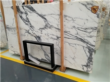 Polished Honed Arabescato White Marble Tiles Slabs