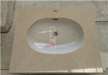 Polished Light Beige Marble Bathroom Vanity Top