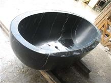 Polishing Oval Oriental Black Marble Bathtub