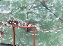 Pure Green Onyx for Lighting Stone Wall Tiles