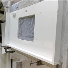 Pure White Quartz Stone Prefab Vanity Top Bathroom