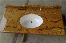 Rain Forest Brown Marble Bathroom Vanity Top