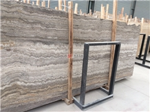 Silver Grey Travertine Slab Wall Cladding Tile
