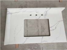 Statuario White Marble Quartz Bathroom Countertop