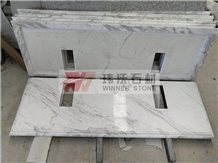 Volakas Semi White Marble Bathroom Countertops