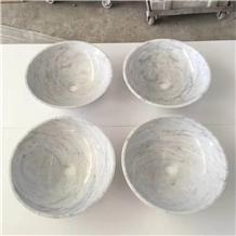 White Carrara Marble Round Sinks