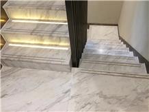 White Marble Steps Volakas Tiles Stair Tread