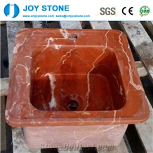 Wholesale Red Marble Pedestal Stone Wash Basin