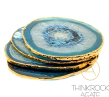 Blue Agate Gold Edge Plated Drink Coasters Cup Mat