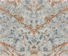 Blue Riff Marble Slabs Tiles Book-Match